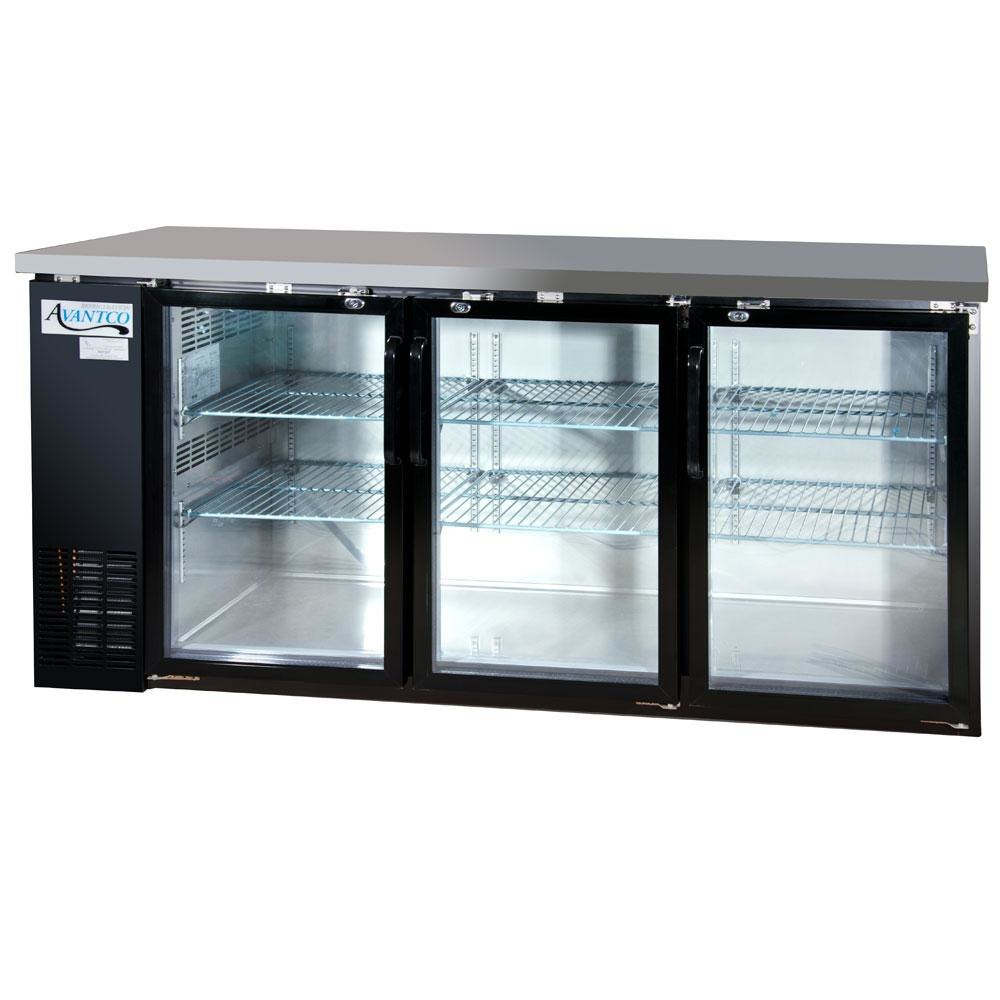 Avantco UBB-24-72G 72 inch Glass Door Back Bar Cooler – Stainless Steel Top and LED Lighting