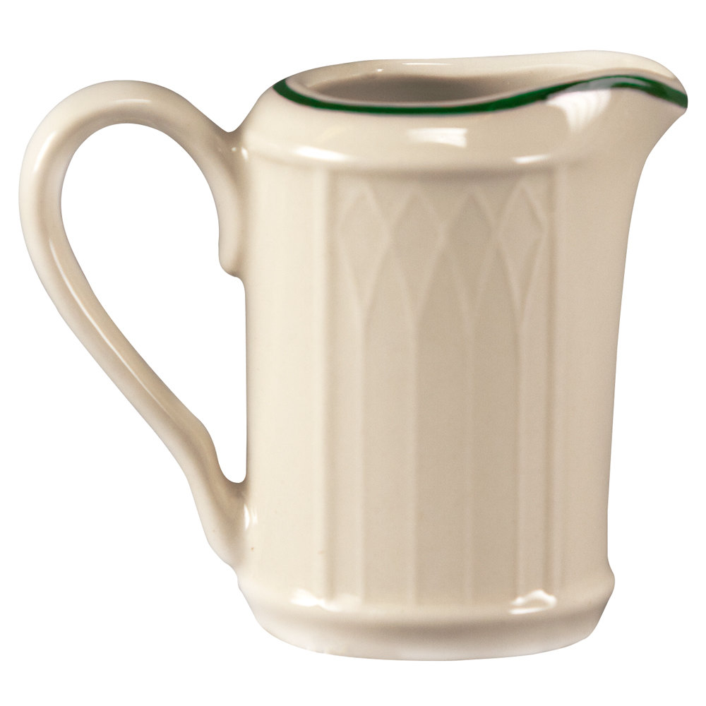 Homer Laughlin 1430-0039 Green Jade Gothic 3.25 oz. Creamer - Off White 36 / Case