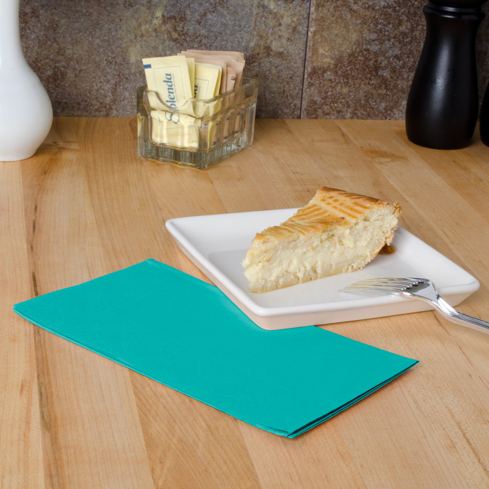 "Hoffmaster 180501 Teal 15"" x 17"" Paper Dinner Napkins 2-Ply - 125/Pack"
