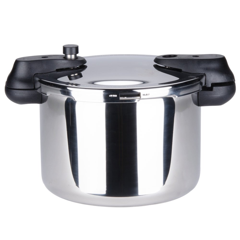 matfer 013203 34 cup 17 cup raw 8 5 qt 8 liter stainless steel pressure cooker with steamer. Black Bedroom Furniture Sets. Home Design Ideas