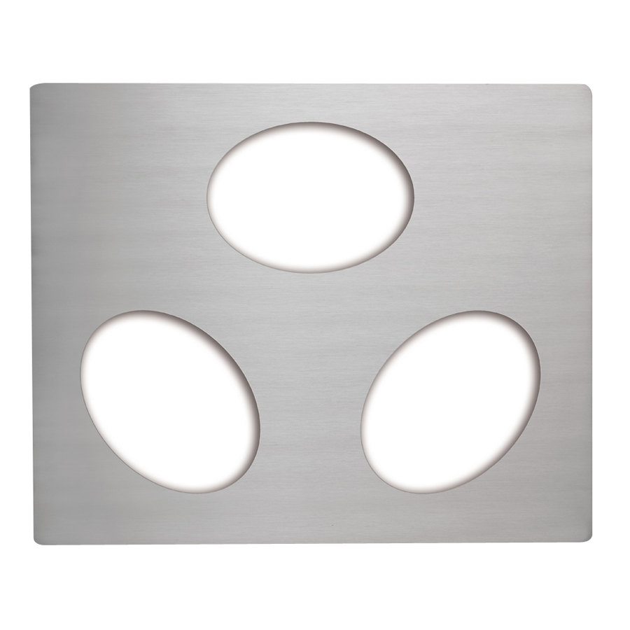 Vollrath 8250114 Miramar Stainless Steel Double Well Adapter Plate for Three Small Oval Pans