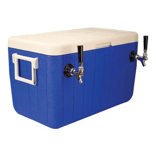 "Micro Matic HDCP-D2-48B Blue 2 Faucet 48 Qt. Insulated Jockey Box with 10"" x 15"" Cold Plate"