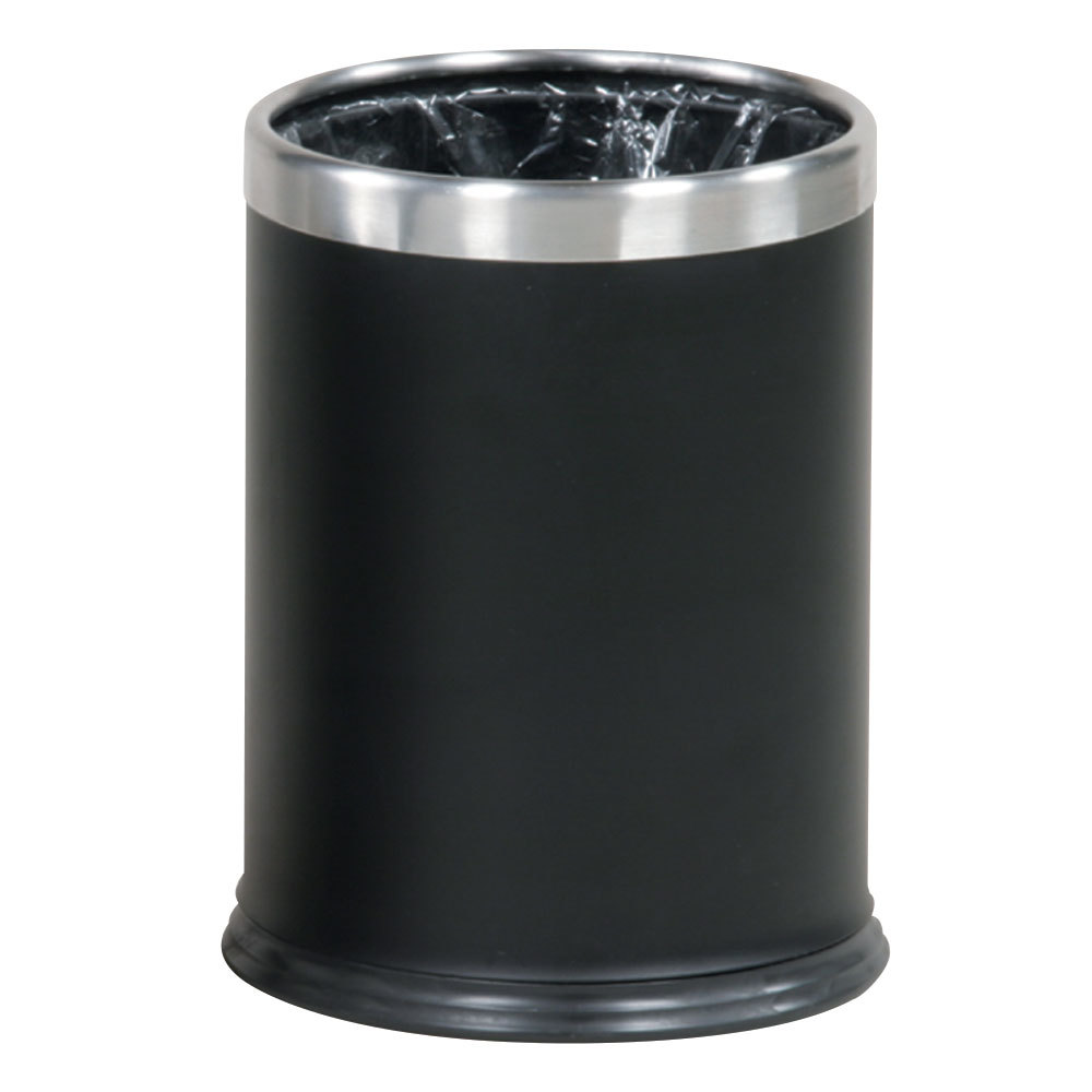 Waste Basket rubbermaid fgwhb14ebk hide-a-bag black with chrome accents round