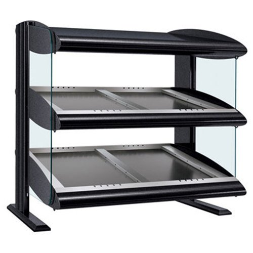 "Hatco HZMS-54D Black 54"" Slanted Double Shelf Heated Zone Merchandiser - 120/240V"