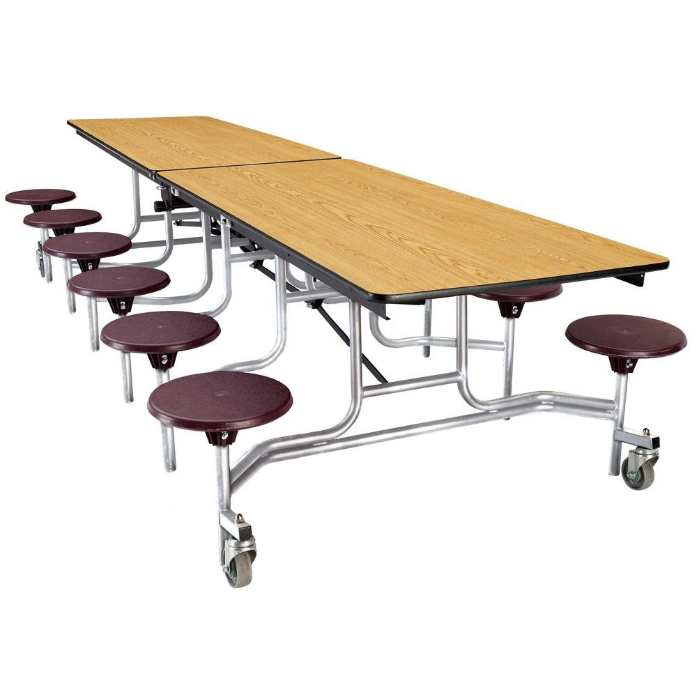 National Public Seating MTS12 12 Foot Mobile Cafeteria Table with Particleboard Core and 12 Stools