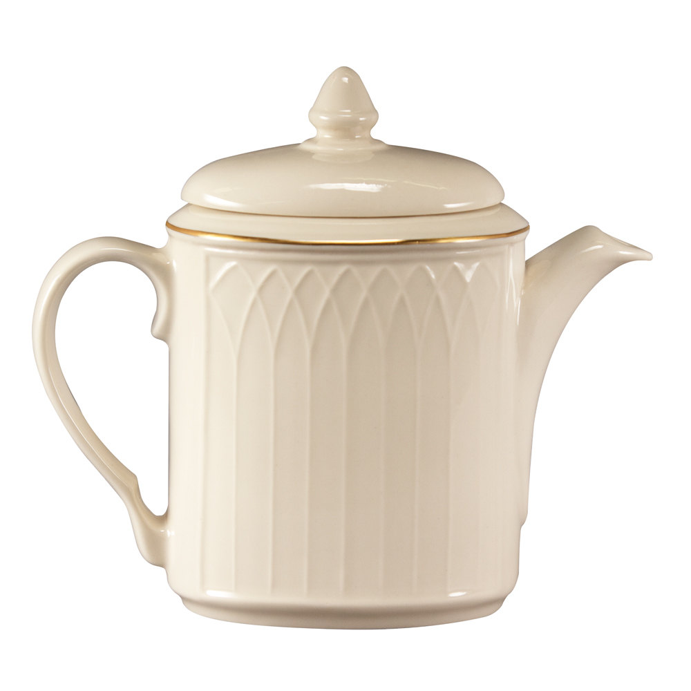 Homer Laughlin 1420-0326 Westminster Gothic Off White 23 oz. Beverage Server with Lid - 12/Case