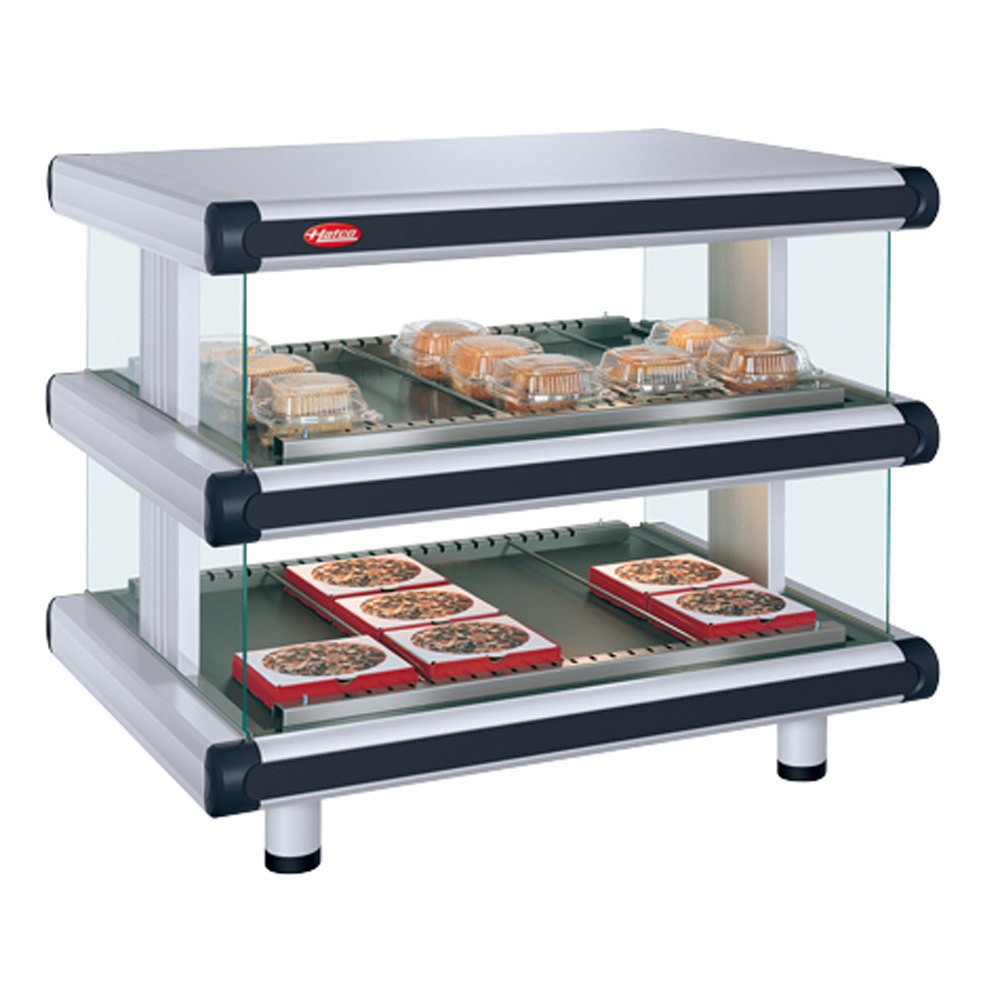 "Hatco 120/208V Hatco GR2DSH-42D White Granite Glo-Ray Designer 42"" Horizontal Double Shelf Merchandiser at Sears.com"