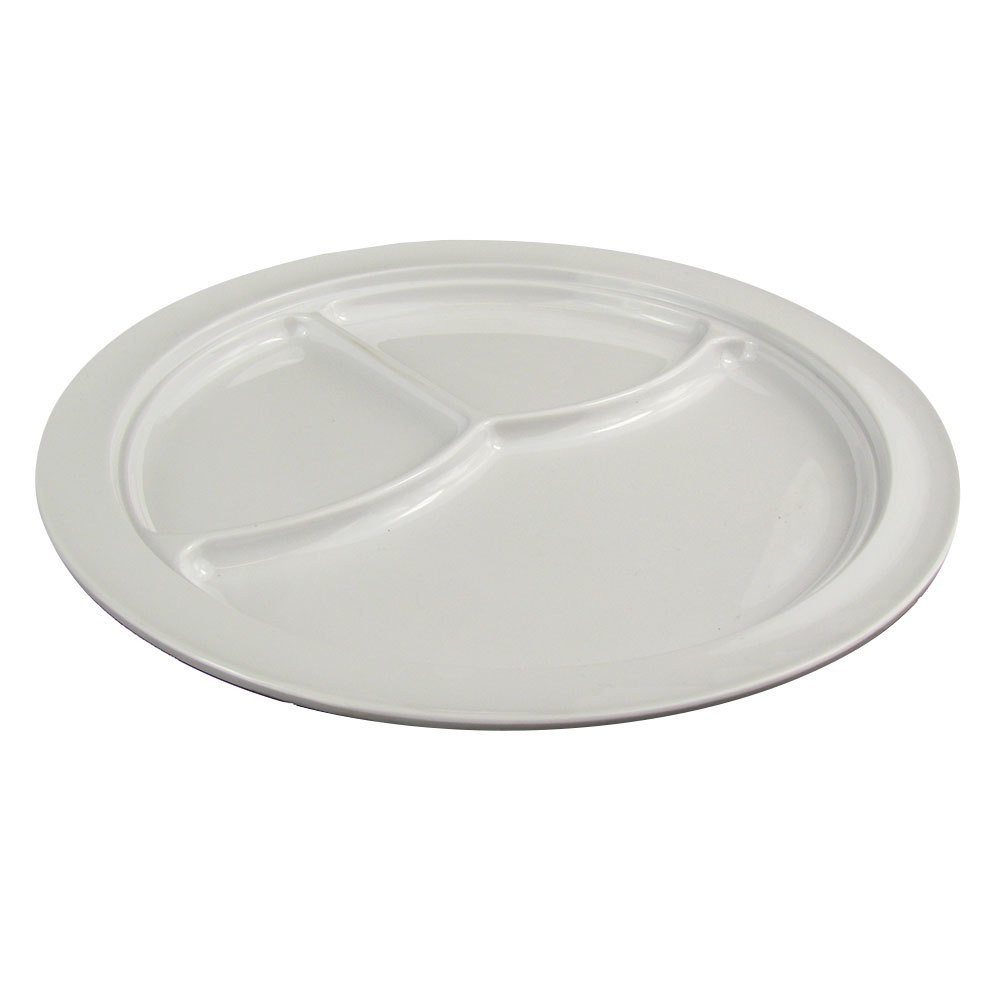 "Nustone White 10 1/4"" 3 Compartment Melamine Plate - 6/Pack"