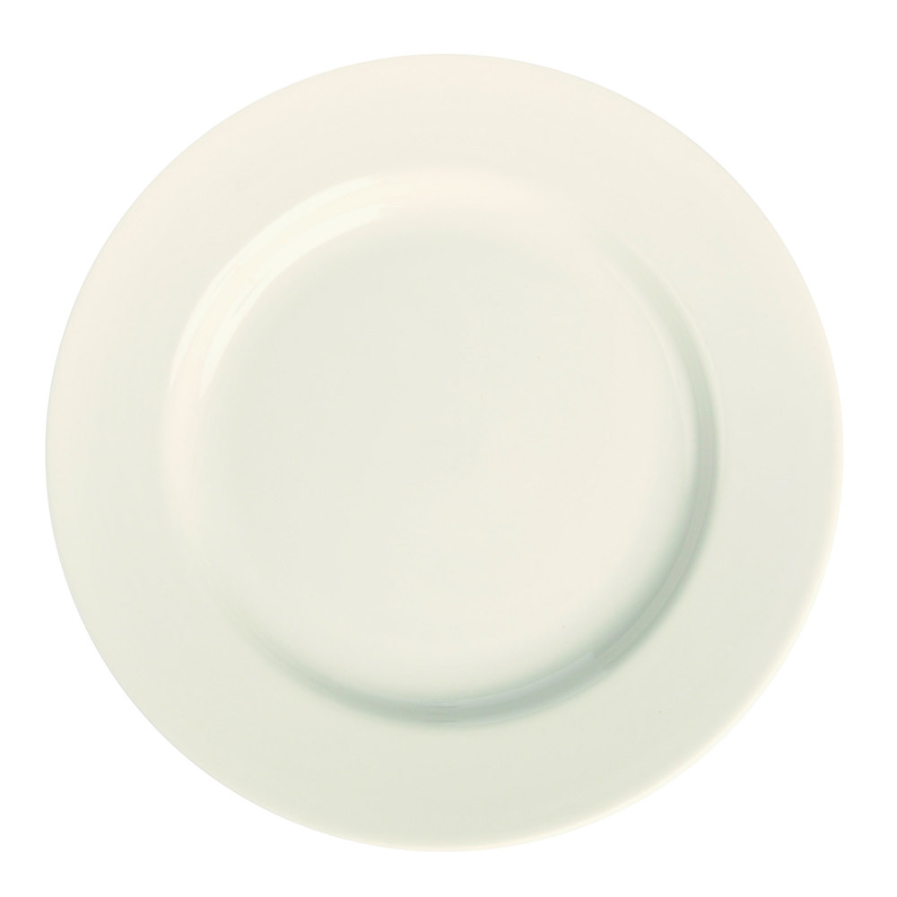 "Homer Laughlin 21000 12 1/4"" Ivory (American White) Rolled Edge China Plate - 12/Case"