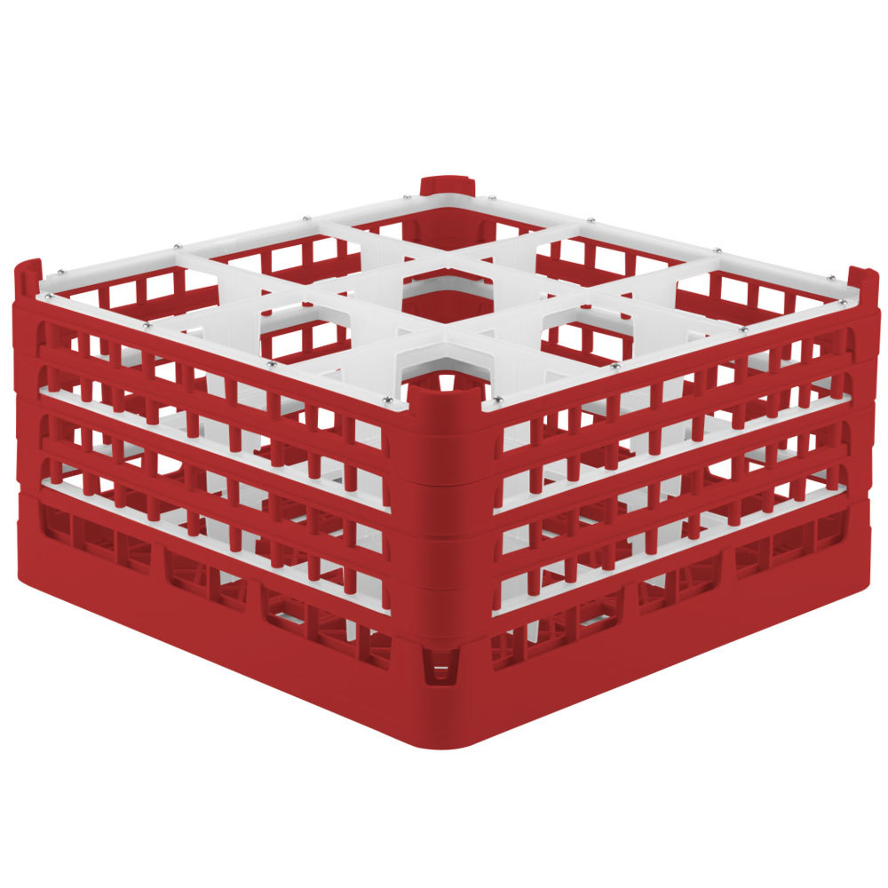 "Vollrath 52729 Signature Full-Size Red 9-Compartment 8 1/2"" XX-Tall Glass Rack"