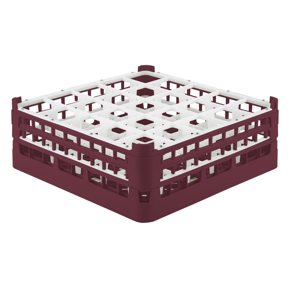 "Vollrath 52774 Signature Full-Size Burgundy 25-Compartment 6 1/4"" Tall Plus Glass Rack"