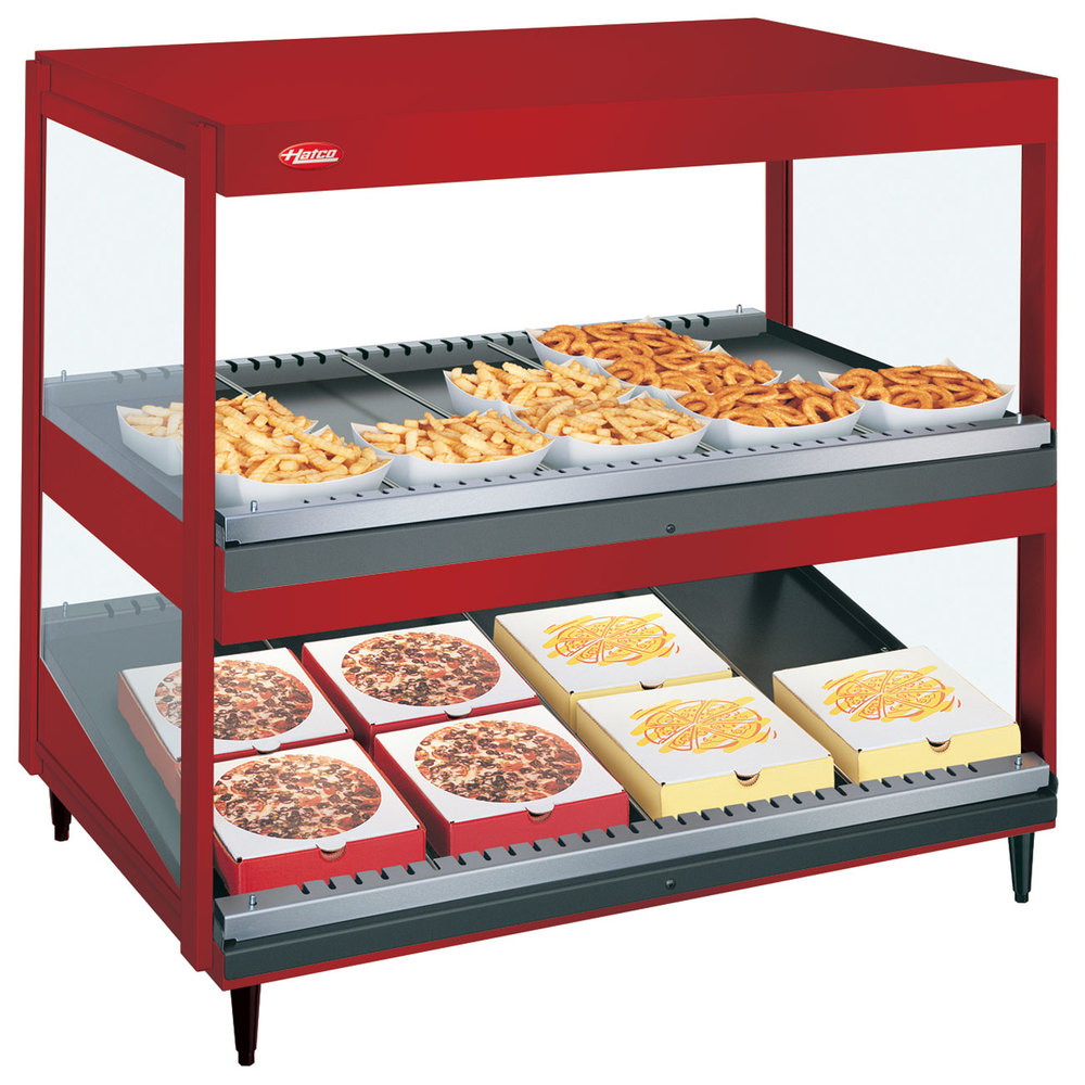 "Hatco GRSDS/H-30D Warm Red Glo-Ray 30"" Horizontal / Slanted Double Shelf Merchandiser"