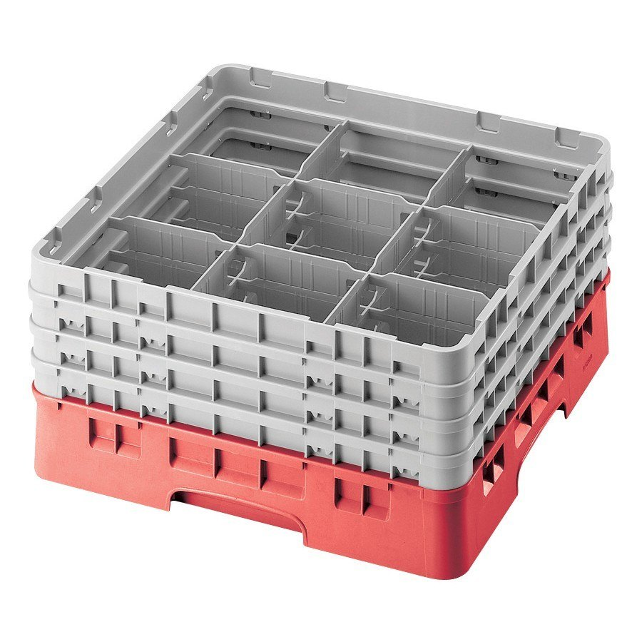 "Cambro 9S318163 Red Camrack 9 Compartment 3 5/8"" Glass Rack"