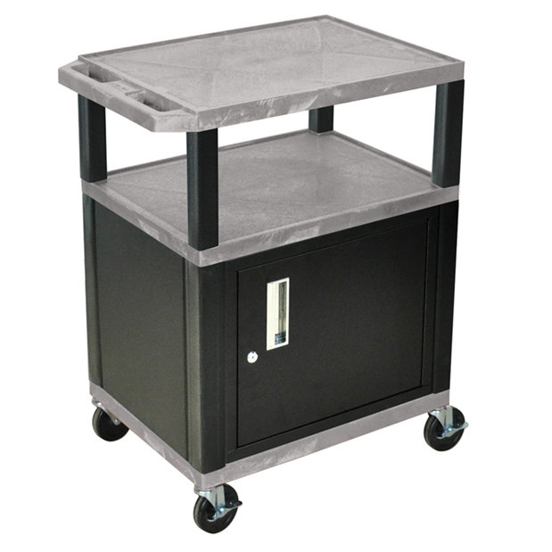 Luxor WT34GYC2E-B Gray Tuffy Two Shelf A/V Cart with Locking ...