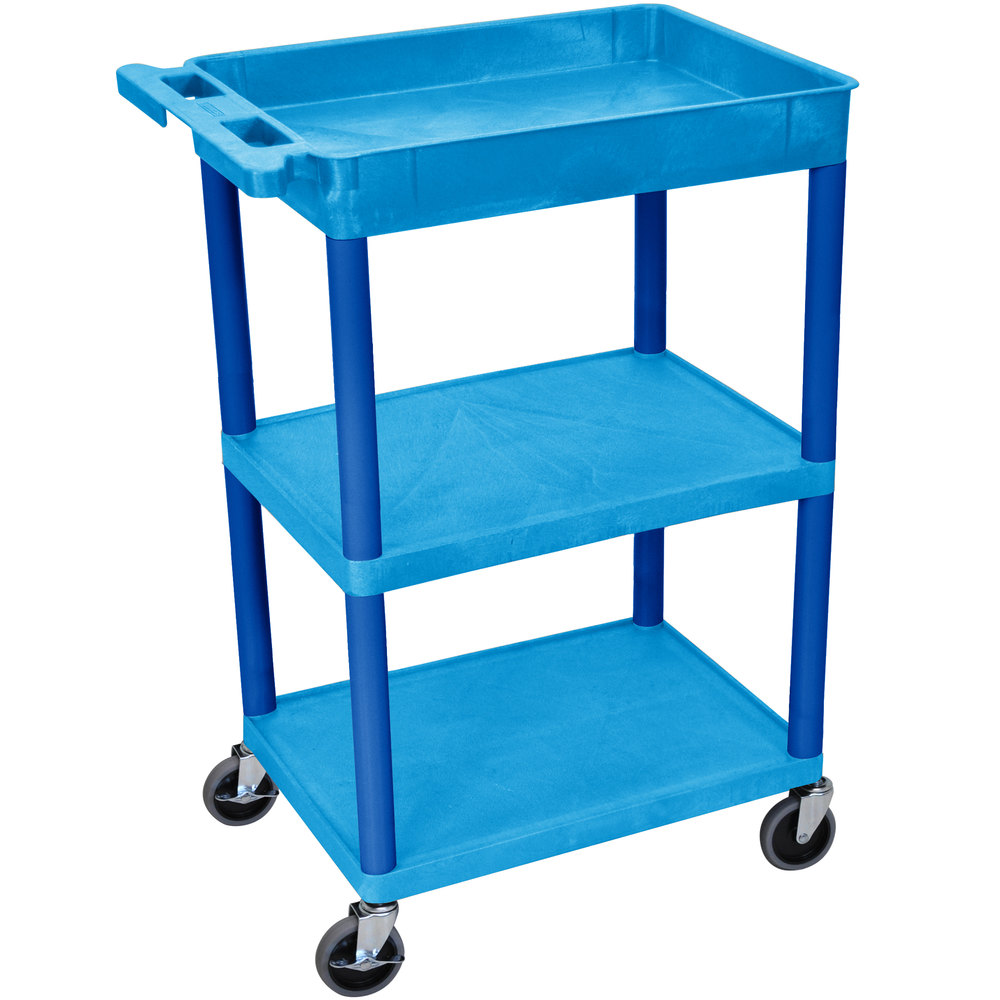 "Luxor / H. Wilson BUSTC122BU Blue Three Shelf Utility Cart - 1 Tub Shelf, 24"" x 18"" x 36 1/2"""