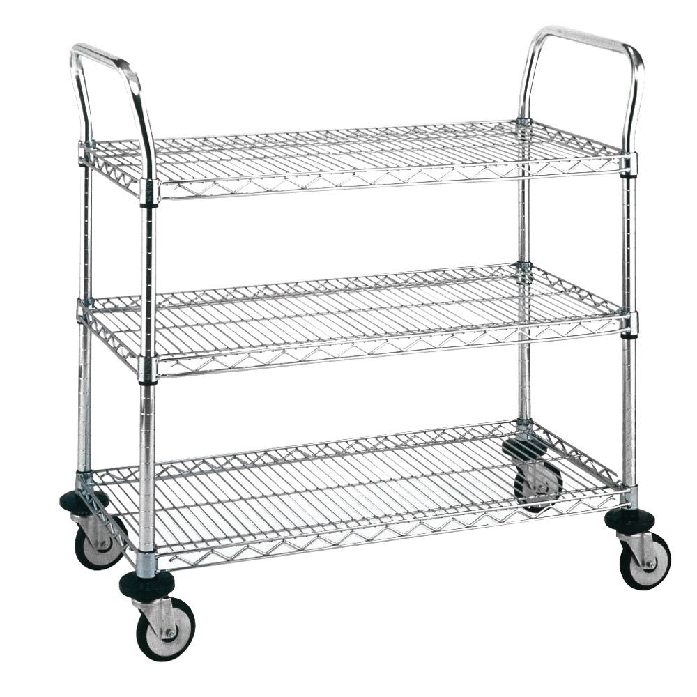 "Metro MW701 Super Erecta 18"" x 24"" x 38"" Three Shelf Standard Duty Chrome Utility Cart"