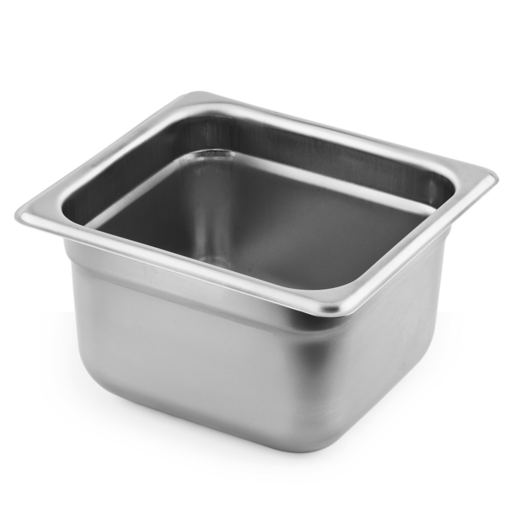 1/6 Size Standard Weight Stainless Steel Anti-Jam Steam Table / Hotel Pan - 4 inch Deep