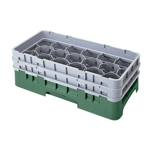"Cambro 17HS318119 Camrack 3 5/8"" High Sherwood Green 17 Compartment Half Size Glass Rack"