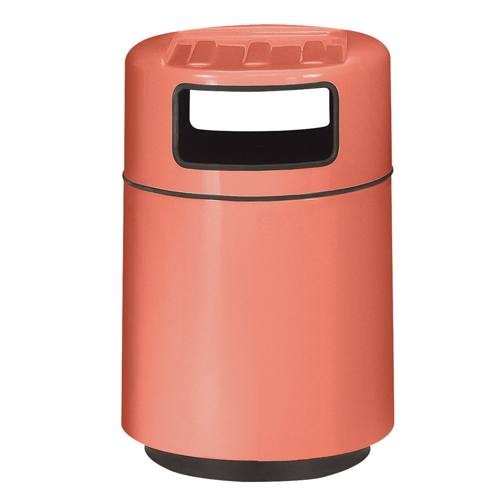 Rubbermaid Fg2439tr Foodcourt Terra Cotta Round Fiberglass Waste Receptacle With Covered Tray