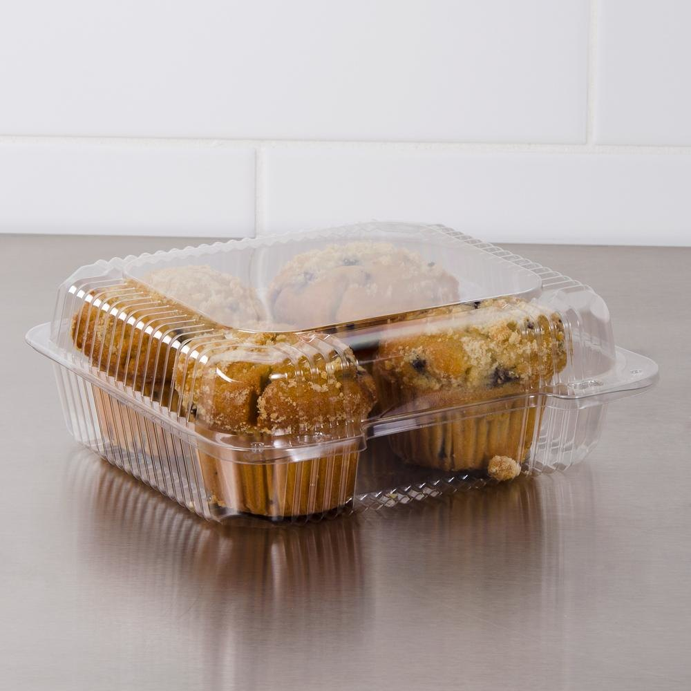 "Dart PET51UT1 StayLock 8 1/4"" x 7 3/4"" x 3"" Clear Hinged PET Plastic Medium Container - 250/Case"