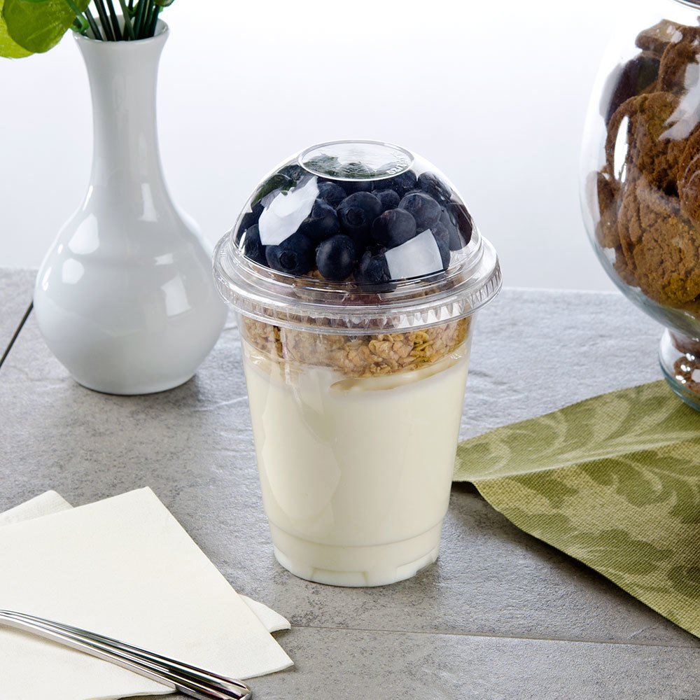 Fabri-Kal 12 oz. Parfait Cup with 4 oz. Insert, Flat Lid, and Dome Lid - 100 / Pack