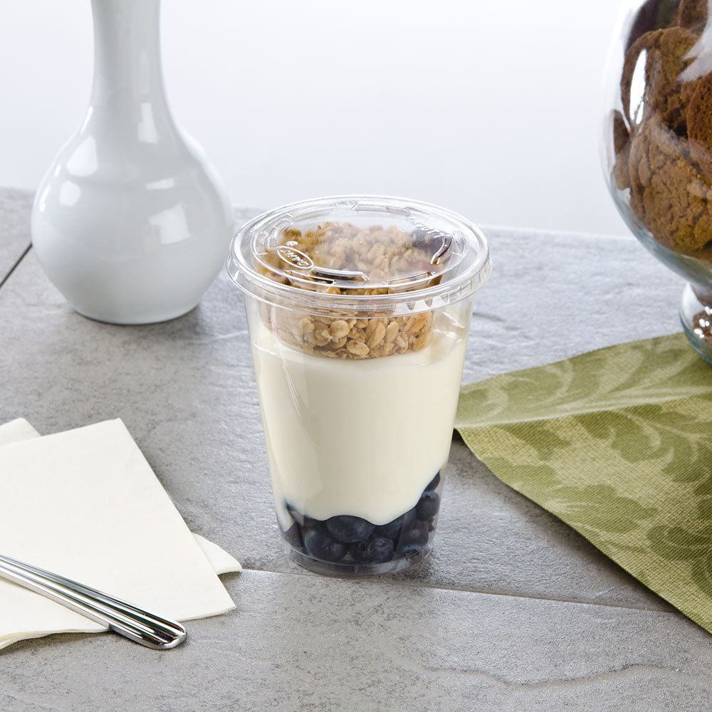 Fabri-Kal Narrow 10 oz. Parfait Cup with 2 oz. Insert and Flat Lid - 100 / Pack