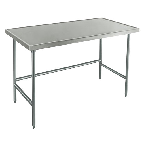 "Advance Tabco Spec Line TVLG-489 48"" x 108"" 14 Gauge Open Base Stainless Steel Commercial Work Table"