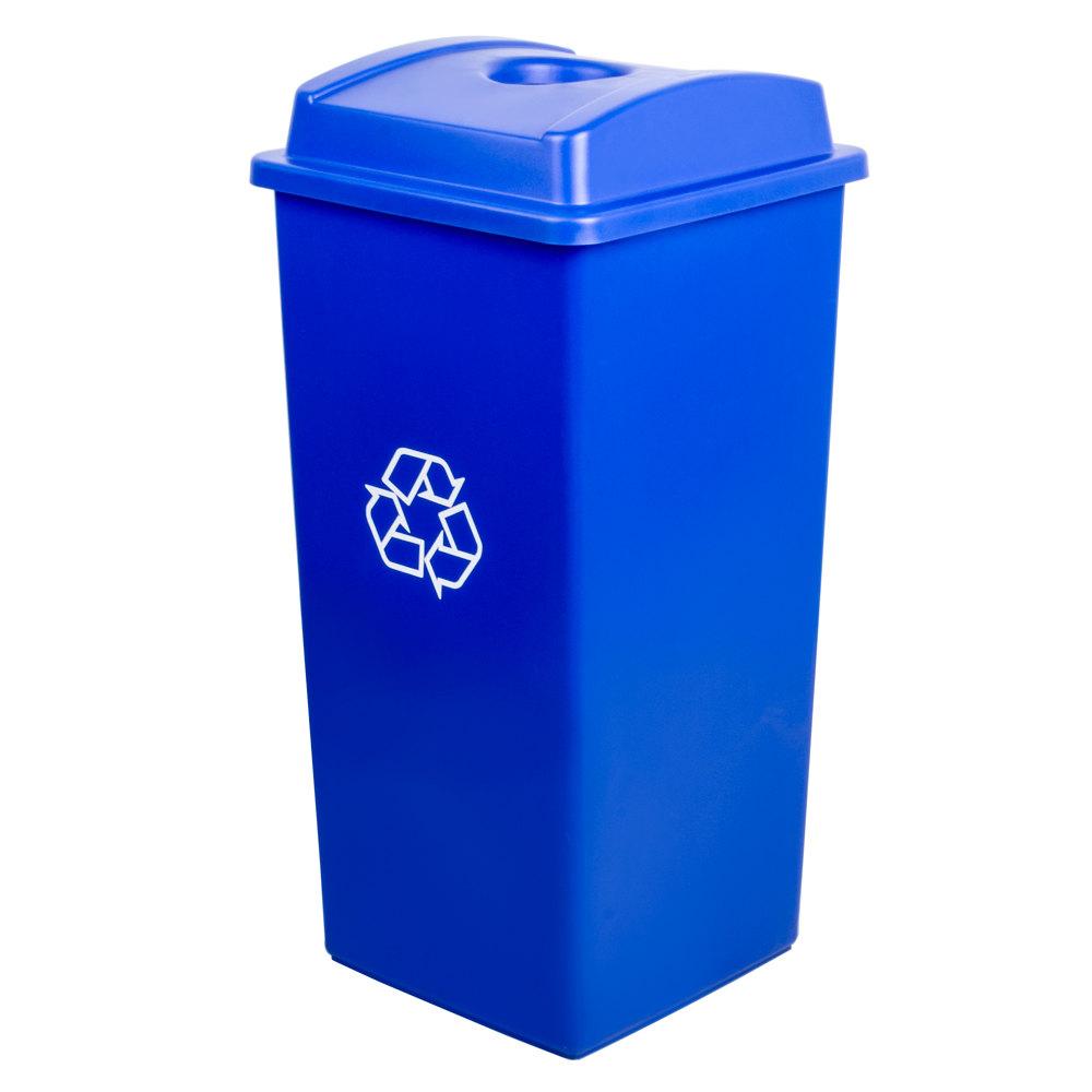 Continental Swingline 32 Gallon Blue Square Recycling