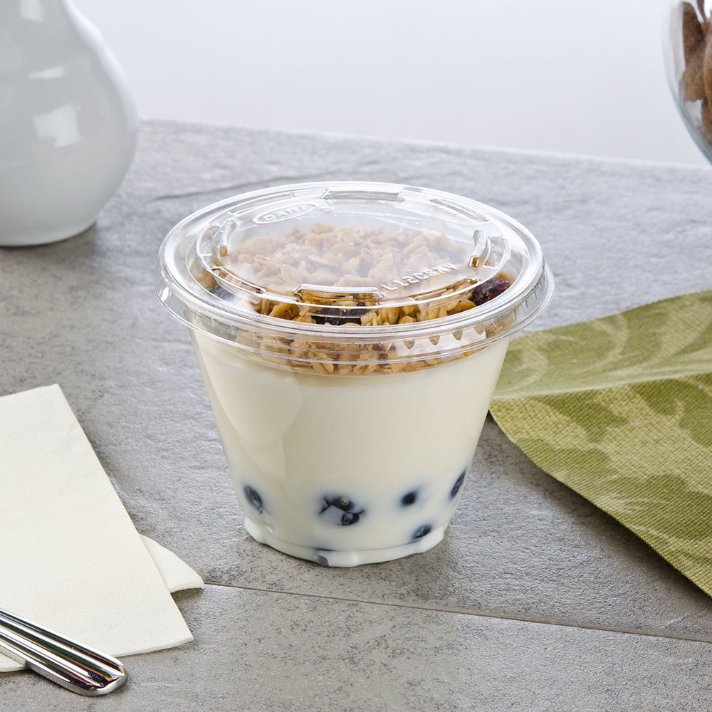 Fabri-Kal Squat 9 oz. Parfait Cup with 2 oz. Insert and Flat Lid - 100 / Pack