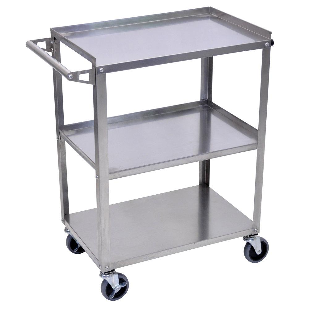 Metal Utility Cart: Luxor / H. Wilson SSC-3 Stainless Steel 3 Shelf Utility