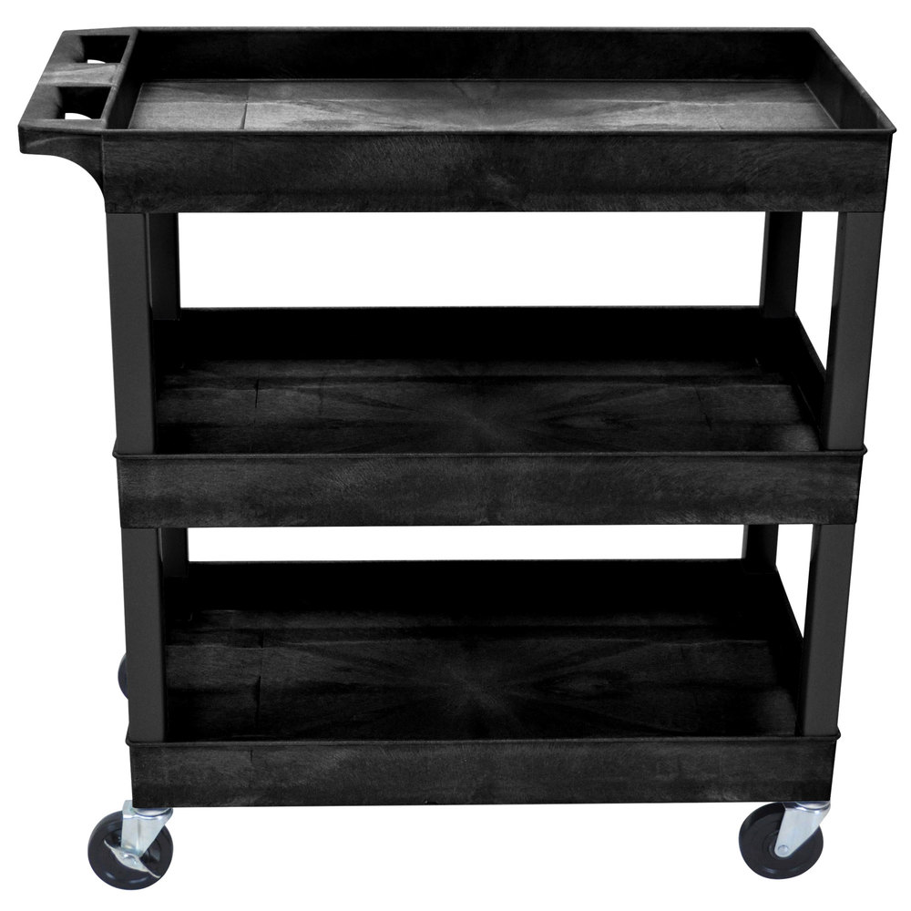 Luxor EC111-B Black Three Tub Shelf Utility Cart - 18\