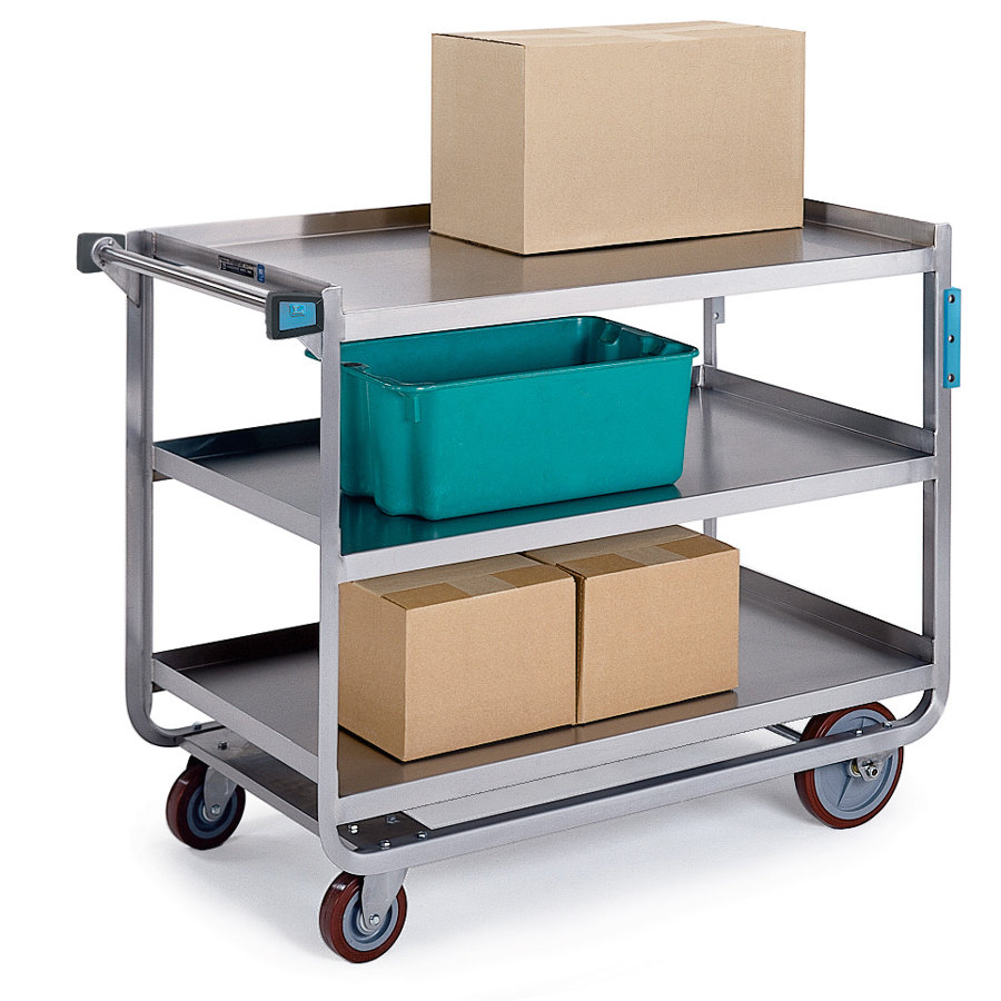 Lakeside 944 Extra Heavy Duty Stainless Steel 3 Shelf Utility Cart ...