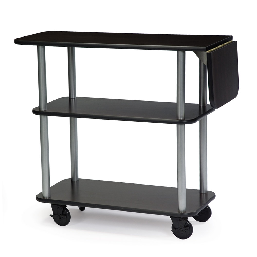 Geneva 36102 Rectangular 3 Shelf Laminate Tableside Service Cart with 10  inch Drop Leaf and Black