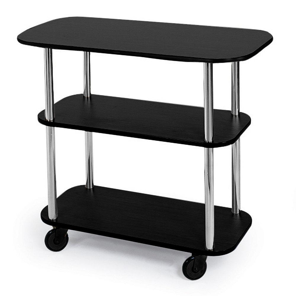 Geneva 36100 Rectangular 3 Shelf Laminate Tableside Service Cart with Black  Finish - 16 inch x
