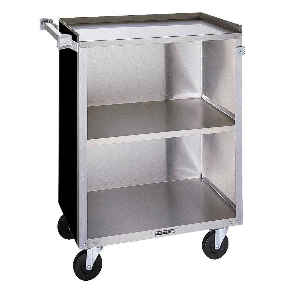 Metal Utility Cart: Lakeside 810 3 Shelf Medium Duty Stainless Steel Utility