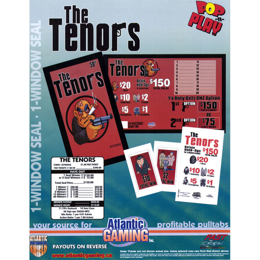 """""""The Tenors"""" 1 Window Pull Tab Tickets - 780 Tickets Per Deal - Total Payout: $280 at Sears.com"""