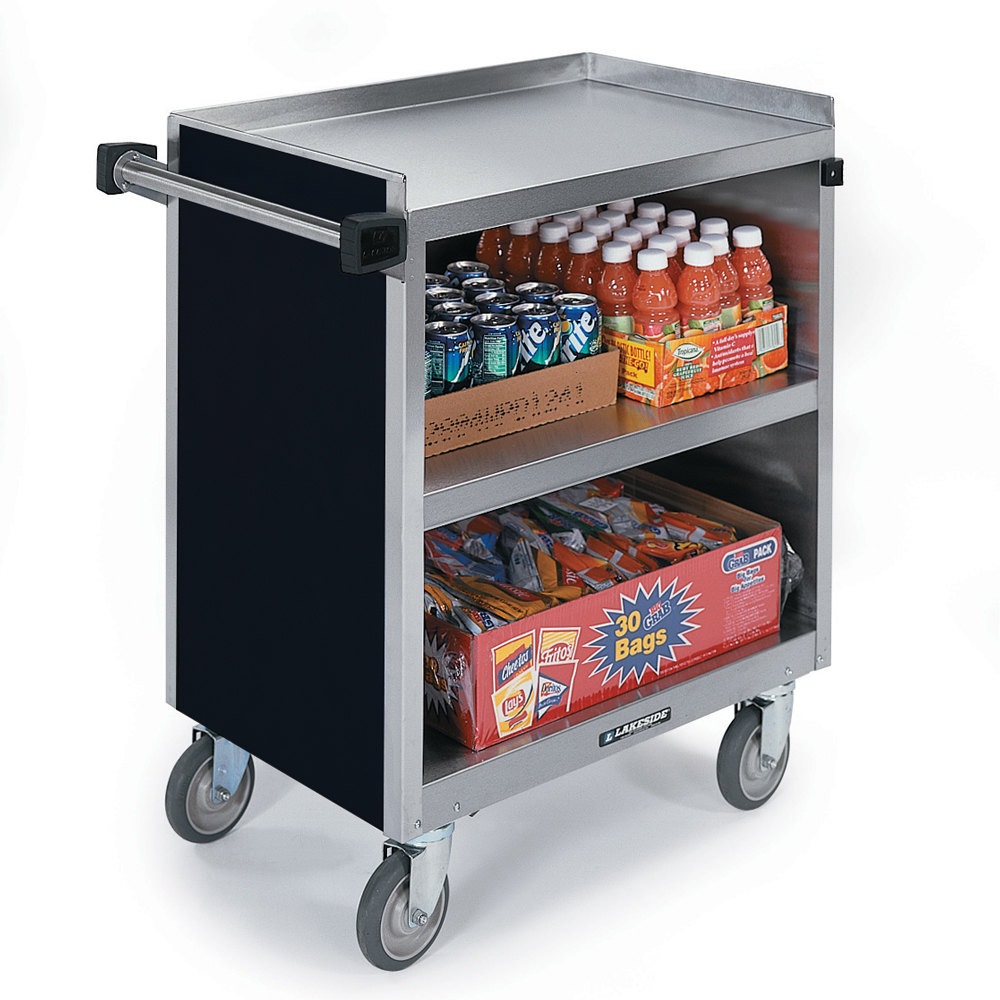 Factory Utility Cart: Lakeside 844 3 Shelf Heavy Duty Stainless Steel Utility