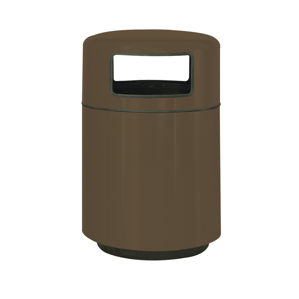 Rubbermaid fg2439 covered tops bronze fiberglass waste receptacle with rigid plastic liner 32 - Covered wastebasket ...