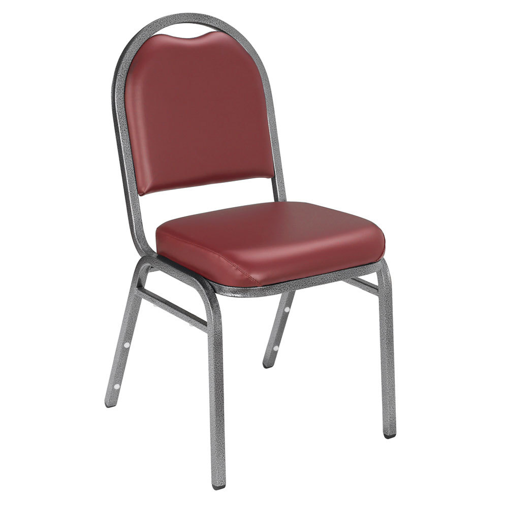 "Multiples of 40 Chairs National Public Seating 9208-SV Dome Style Stack Chair with 2"" Padded Seat, Silvervein Metal Frame, and Pleasant Burgundy Vinyl Upholstery"