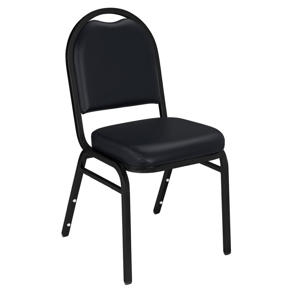 "Multiples of 2 Chairs National Public Seating 9210-BT Dome Style Stack Chair with 2"" Padded Seat, Black Sandtex Metal Frame, and Panther Black Vinyl Upholstery"