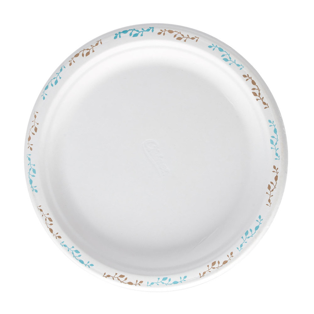 "Huhtamaki Chinet 22519 10 1/2"" Molded Fiber Round Plate with Vines Design - 125/Pack"