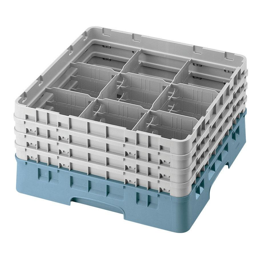 "Cambro 9S434414 Teal Camrack 9 Compartment 5 1/4"" Glass Rack"