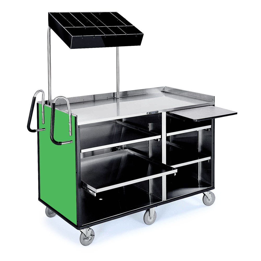 ' ' from the web at 'http://www.webstaurantstore.com/images/products/main/125565/170325/4-shelf-stainless-steel-vending-cart-with-pull-out-shelves-and-green-laminate-finish-27-1-2-x-60-x-70.jpg'