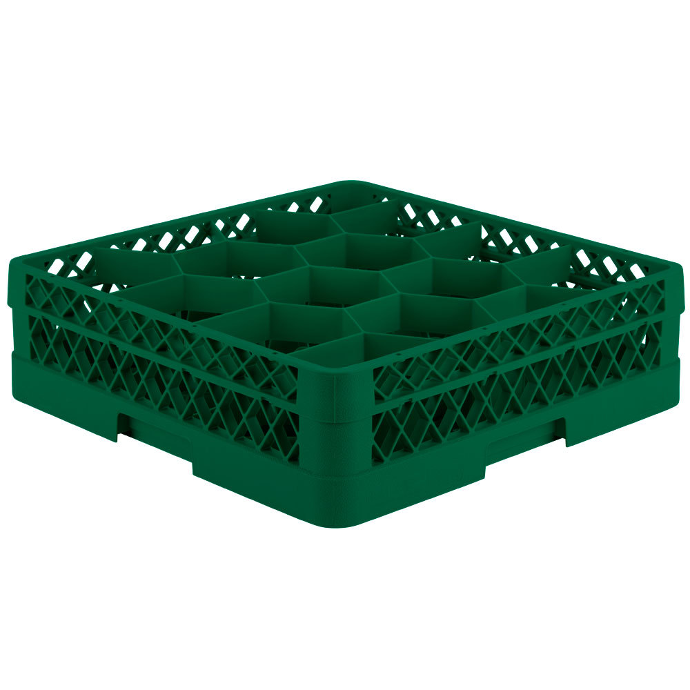 "Vollrath TR18J Traex Rack Max Full-Size Green 12-Compartment 4 13/16"" Glass Rack"