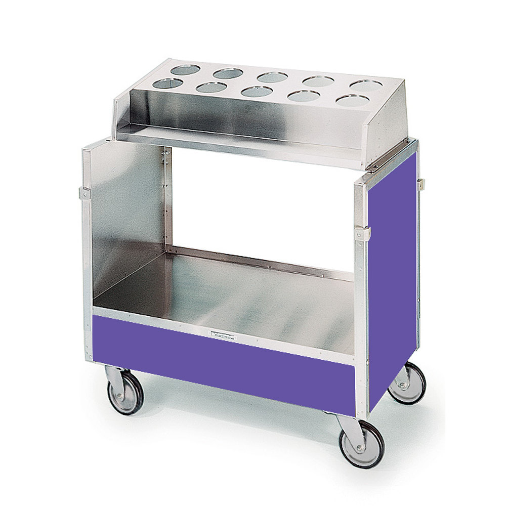 "Lakeside 603 Stainless Steel Silverware / Tray Cart with 10 Hole Flatware Bin and Purple Finish - 22 1/4"" x 36 1/4"" x 39 3/4"""
