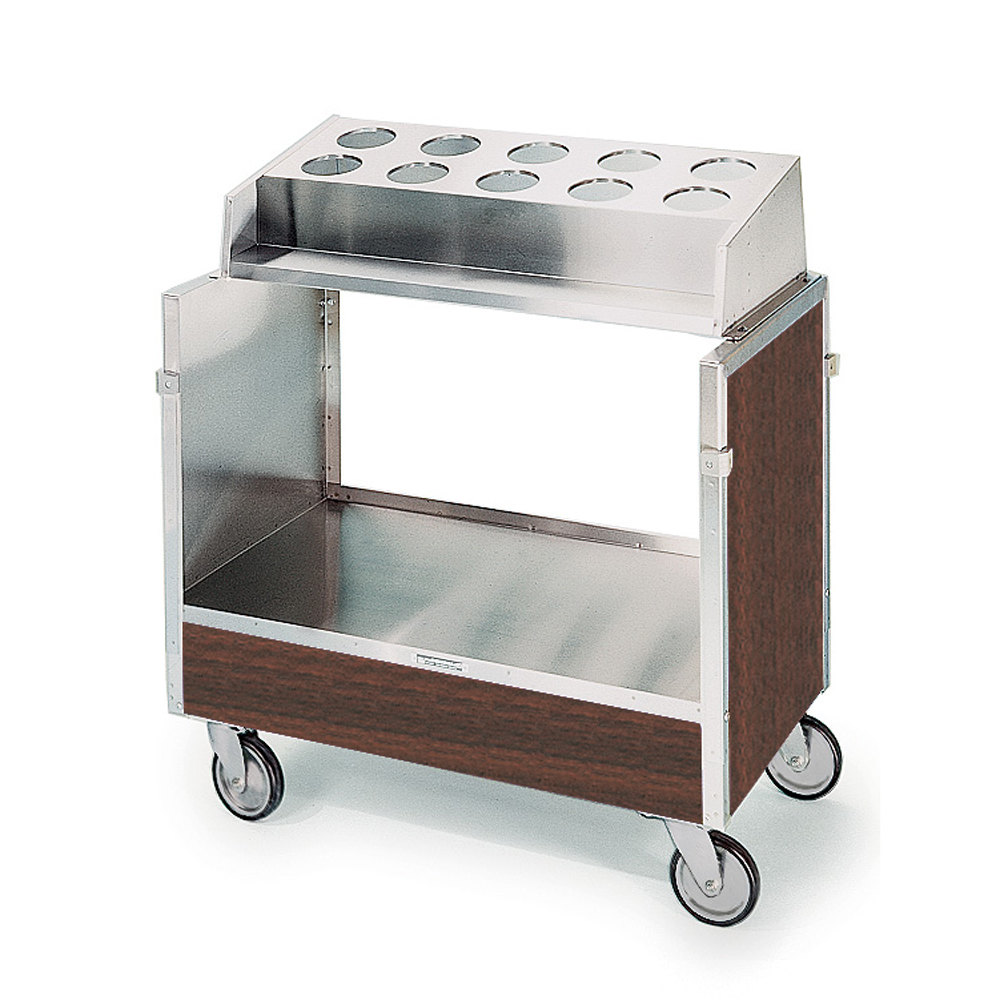 "Lakeside 603 Stainless Steel Silverware / Tray Cart with 10 Hole Flatware Bin and Walnut Finish - 22 1/4"" x 36 1/4"" x 39 3/4"""