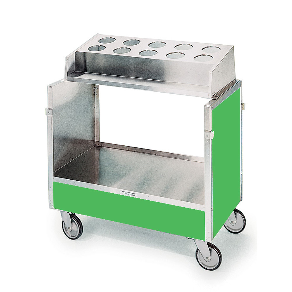 "Lakeside 603 Stainless Steel Silverware / Tray Cart with 10 Hole Flatware Bin and Green Finish - 22 1/4"" x 36 1/4"" x 39 3/4"""