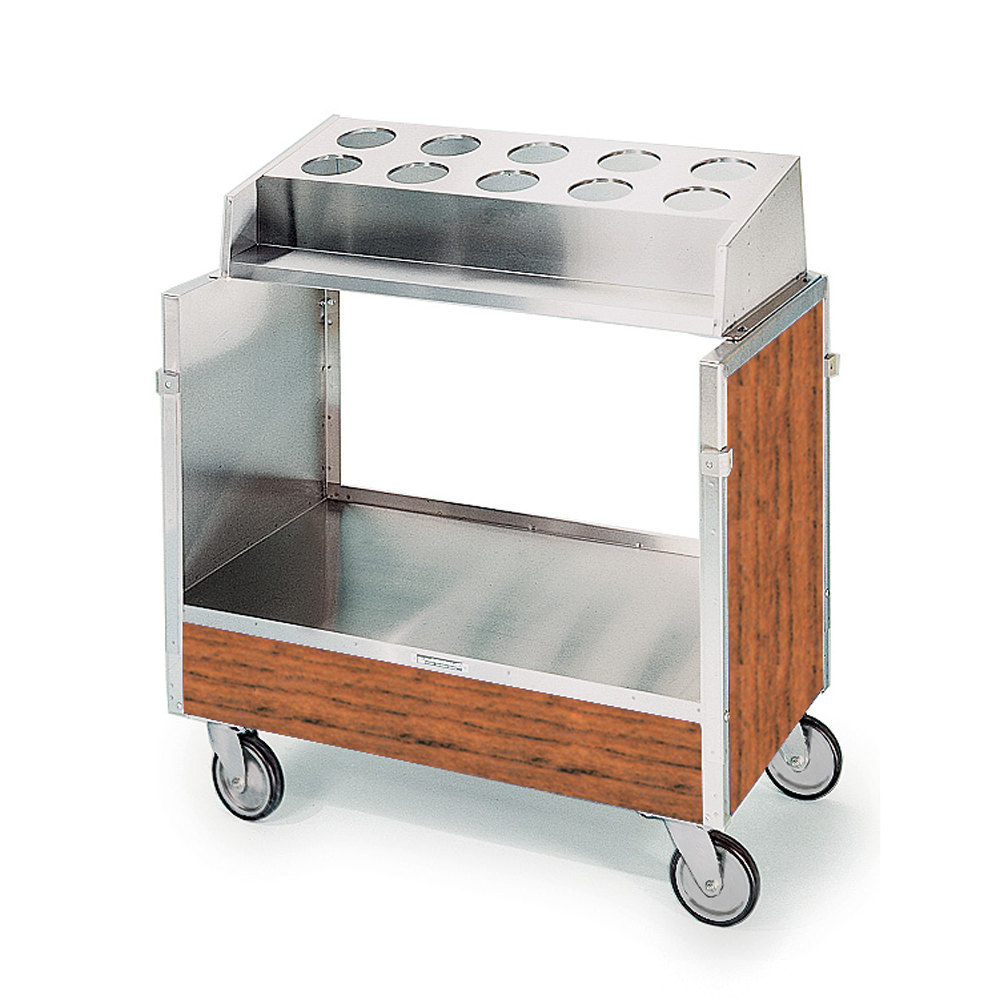 "Lakeside 603 Stainless Steel Silverware / Tray Cart with 10 Hole Flatware Bin and Victorian Cherry Finish - 22 1/4"" x 36 1/4"" x 39 3/4"""