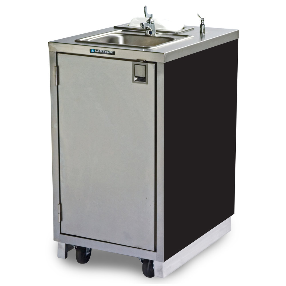 Lakeside 9620 Portable Self Contained Stainless Steel Hand Sink Cart With Hot Water Faucet Soap