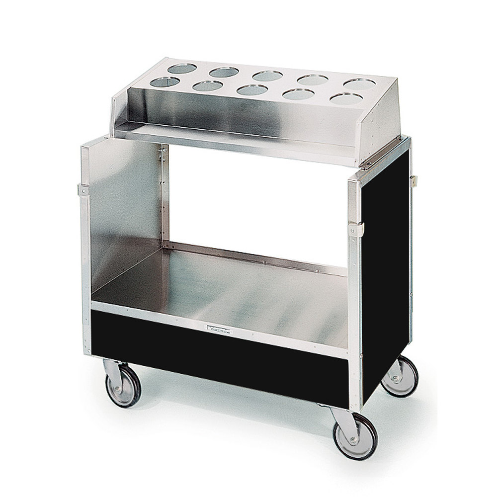 "Lakeside 603 Stainless Steel Silverware / Tray Cart with 10 Hole Flatware Bin and Black Laminate Finish - 22 1/4"" x 36 1/4"" x 39 3/4"""